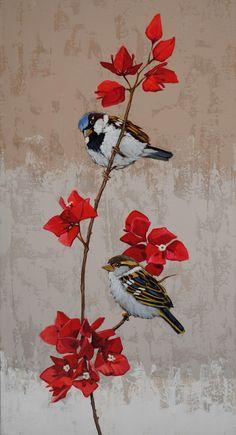 Rose Oil Painting, Street Art Banksy, Paisley Art, Bird Wall Decals, Mosaic Birds, Whimsical Art, Animal Paintings, Bird Art, Art Music
