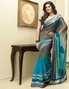Blue And Grey Shaded Saree