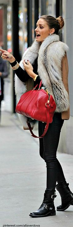Olivia Palermo. Love the boots, bag the whole shabang! maybe minus the fur !!