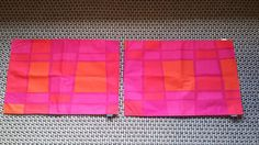 Set of 2 Marimekko Finland Vintage Cotton Red Shades Square Pattern Placemat
