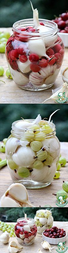 Garlic marinated with gooseberries or grapes - recipe Top Salad Recipe, Food Storage, Grape Recipes, Good Food, Yummy Food, Salty Foods, Russian Recipes, Appetisers, Winter Food