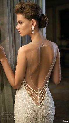 berta fall 2016 bridal illusion sleeveless jewel neckline deep v plunging cut geometric pattern embroideries sheath wedding dress back #weddingdress