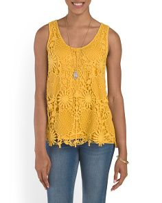 image of Floral Crochet Tank