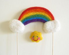 Rainbow Cake Topper Needle Felted Made to Order By Cherrytime. $40.00, via Etsy.