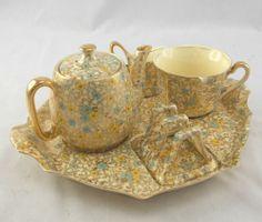 Wonderful 1950's Royal Winton Gold Floral Chinz Breakfast Tea Set NK O07 | eBaY  Chip on teacup.