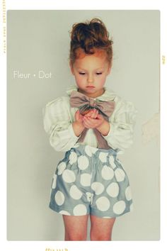 Girls Shorts: The Polka Dotted Ruffle Top Shorts in Grey and White from the Autumn Winter Collection by Fleur and Dot. $48.00, via Etsy.