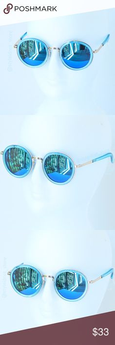 Retro Glam Rounded, Gold Frame Blue Lens Sunglasse ❤️ BUNDLES ❤️ DISCOUNTS ❌ NO TRADES ❌ NO Low balling!  • Metal Frame • Lens Height: 53mm • Lens Width: 58mm • side to side: 141mm Accessories Sunglasses