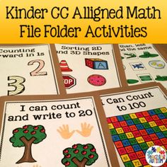This download contains a variety of file folder activities that are aligned to Kindergarten Common Core Math Language Standards. ★ 22 activities included. ★ Each activity comes with a cover for your file folder with the common core target(s) that the activity meets on the bottom. This resource comes in col.