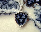 Broken china jewelry heart shaped necklace by dishfunctionldesigns