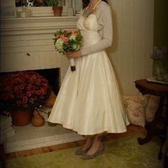 Stephanie James Couture Wedding Dress Vintage inspired, tea length, ivory silk taffeta Dresses Strapless