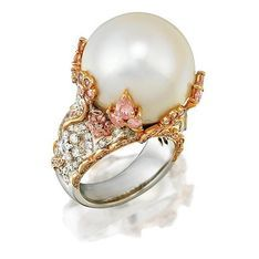 South Sea pearl, diamond and pink diamond ring, of bombe design… - Rings - Jewellery - Carter's Price Guide to Antiques and Collectables