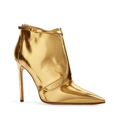 J Mendel Gold Patent Leather Buckle Bootie - ShopBAZAAR