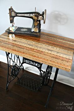 Yard Stick Sewing Table Makeover Yard Stick Sewing Table Makeover Vintage yard sticks becamYard Stick BoxPlanting table from old sewing Antique Sewing Machine Table, Treadle Sewing Machines, Antique Sewing Machines, Vintage Sewing Table, Singer Table, Singer Sewing Tables, Old Sewing Tables, Machine Singer, Yard Sticks