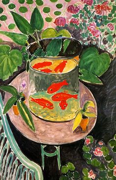 The Goldfish. This piece is a still life of a group of goldfish in a pitcher.