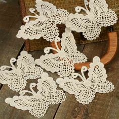 Ivory Butterfly Doily Appliques - Crochet and Lace Doilies - Home Decor Crochet Butterfly Pattern, Crochet Doily Patterns, Crochet Art, Crochet Home, Crochet Gifts, Irish Crochet, Crochet Motif, Vintage Crochet, Crochet Stitches