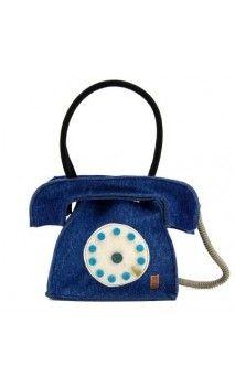 "#bags #borse #handmade #artigianali #felt #feltro #telephone #telefono #blue Borsa in feltro ""Telefono"""