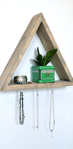 Triangle Shelf with 3 Hooks by on Etsy Bedroom Furniture, Furniture Design, Bedroom Decor, Bedroom Ideas, Bedroom 2017, Warm Bedroom, Furniture Nyc, Furniture Layout, Furniture Companies