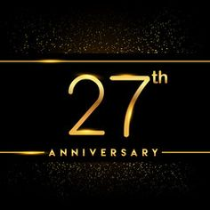 Celebrating of 27 years anniversary, logotype golden colored isolated on black background and confetti, vector design for greeting card and invitation card