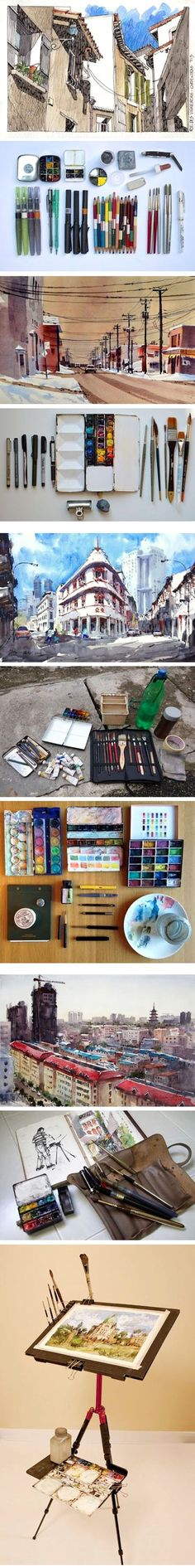 Parka Blogs' art tools and gears #watercolor #sketch http://linesandcolors.com/2014/05/09/parka-blogs-art-tools-and-gears/