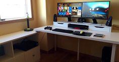 Cheap double monitor setup white