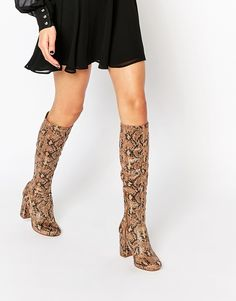 Image 1 ofRiver Island Snake Effect Block Heeled Knee High Boots