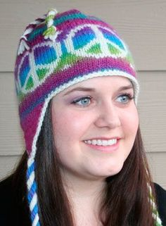 Peace Out Earflap Hat - Knitting Patterns by Marinda Lariz