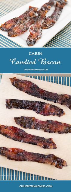 Cajun Candied Bacon from Chili Pepper Madness - sweet and spicy bacon. How can you go wrong?