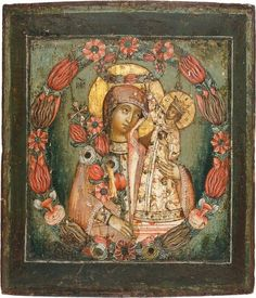 """Russian Icon of the Mother of God """"The Unfading Flower"""" Byzantine Icons, Byzantine Art, Russian Icons, Russian Art, Religious Icons, Religious Art, Madonna, Albrecht Durer, Art Icon"""