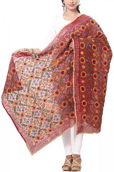 Maroon Art Chanderi Phulkari Dupatta Punjabi Suits, Ethnic, Kimono Top, Saree, Fancy, India, Colorful, Crochet, How To Wear
