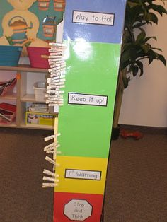 Behavior Chart: Create a chart with 4 different colors. Blue = Way to Go! Green = Keep it Up! Yellow = Warning. Red = Stop and Think. Write each students' name on a clothes pin and put them all on green. Throughout the day, students move their name down for bad behavior, or get rewarded for good behavior by moving up to blue. This is a great idea for keeping track of who already has had warnings for the day. (Our school follows the Stop and Think program for behavior.) Students who move to…