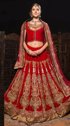 Get the ultimate new look this season. This velvet lehenga choli in exclusive red color with dupatta which is decorated with embroidery work. It has heavy work of zari, stone, bead, cut bead, applique, lace and patch done on the skirt part which is increasing its good looks. This unstitched choli can be stitched in the maximum bust size of 42 inches, Lehenga Waist is 36 inches and lehenga length is 42 inches.
