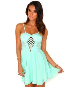 Lolly Caged Panel Strappy Skater Dress In Mint $27.09   www.missguidedus.com