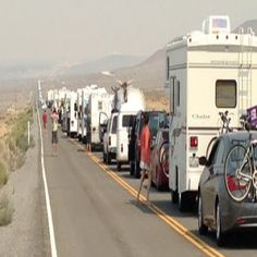 Traffic on the way to the Burning Man Festival 2012 in Black Rock City Nevada #BurningMan
