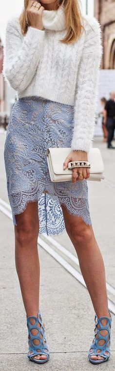 Pastel Blue Lacey Lingerie Skirt