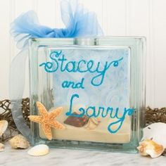 Crafts Sand and Shell Glass Block  * Leave off any lettering for a cleaner view of contents.(kat)