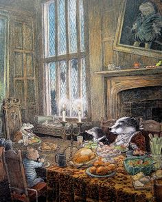 At long last the friends can dine with the now (hopefully) reformed Mr Toad, who is happy to be back in his much loved ancestral home.  Flutterby Patch: The Wind in the Willows