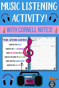 This resource includes Music Listening Questions and Cornell Notes templates, great for scaffolding and note taking. The Music Listening Questions is a graphic organizer that helps support students during music listening activities, or while watching performances or music videos. It can be printed out as a poster or handout (in either color or black & white) or projected using a computer, smart board, overhead projector, etc. #musiceducation #TheMusicFox #musicians #lessonplans