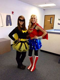 20 Couples Halloween Costumes To Try With Your BFF - butter and jelly halloween costume for you and your bff!bff halloween costumes 31 Greatest DIY H . Costume Halloween, Costume Batgirl, Diy Halloween, Two Person Halloween Costumes, Couples Halloween, Wonderwoman Costume Diy, 3 Person Costume, Superhero Couples Costumes, Easy Disney Costumes