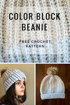 96fe6b4db33 Color Block Beanie FREE crochet pattern and video tutorial - Creating a  color block look with