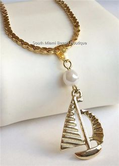 Gold Plated Pearl Sailboat Necklace Nautical Sail Boat Beach Island USA Seller #Unbranded #Pendant