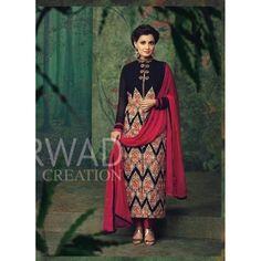 Beautiful Embroidered Georgette Straight Cut Black Salwar Kameez - 1002 ( OFB-665 )