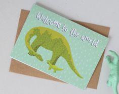 New Baby Card, Diplodocus Baby Card, Dinosaur Baby Card, Card for Babies, Card for New Parents, New Arrival Greetings Card