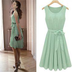 Vestido Chiffon Verde Claro