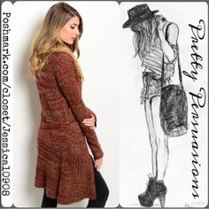 """NWT Faux Fur Trim Tie Waist Long Rust Cardigan Lg NWT Faux Fur Collared Long Cardigan   Available in Sizes: S, M, L  Length: 45""""  Color: Wine/Rust  Features:  • long sleeves  • faux fur trimmed collar • self tie waist belt  Add a layer of cozy style to your ensemble with this ultrasoft cardigan that boasts an eye-catching blend of warm hues.     No trades or pp  Bundle discounts available    Thank you. Xo Pretty Persuasions Sweaters Cardigans"""