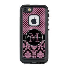 Pink glitter & black damask Pink Black Dots Name LifeProof FRĒ iPhone SE/5/5s Case - glitter gifts personalize gift ideas unique