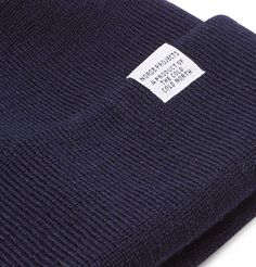 Norse Projects Merino Wool Beanie In Blue Leather Baseball Cap, Norse Projects, Dark Navy, Beanie Hats, Rib Knit, Merino Wool, Label, Cold, Warm