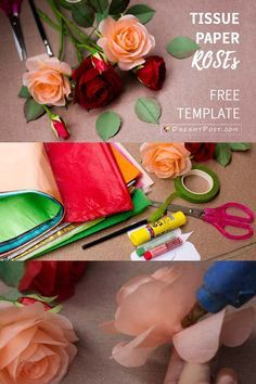 crepe paper roses This tissue paper Rose tutorial is not for a beginner, although I tried my best to simplify the method, and with free templates as usual. Tissue Paper Roses, Tissue Paper Crafts, Crepe Paper Flowers, Diy Paper, Tissue Flowers, Handmade Flowers, Diy Flowers, Rose Tutorial, Flower Template