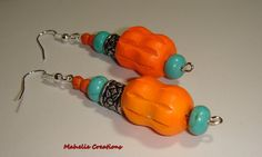 Orange and turquoise dangle earrings bold by MahelieCreations, $8.00