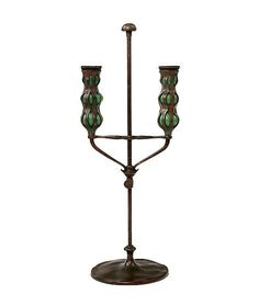 """Tiffany Studios Telescopic Candlestick  An American Art Nouveau patinated bronze & glass """"Telescopic"""" candlestick by, Tiffany Studios decorated with matching triple blown out candleholders with green glass a top a telescopic candlestick. The candlestick is signed, """"Tiffany Studios New York 1235""""  circa 1900"""
