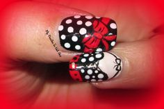 50's Nail Art tutorial - black white and red pois dress with bow nails